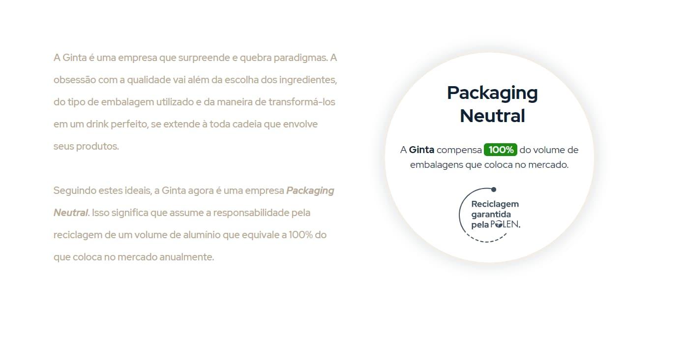 Declaração da Ginta, uma empresa packaging neutral certificada pela Polen