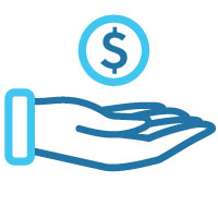 Hand with money symbol