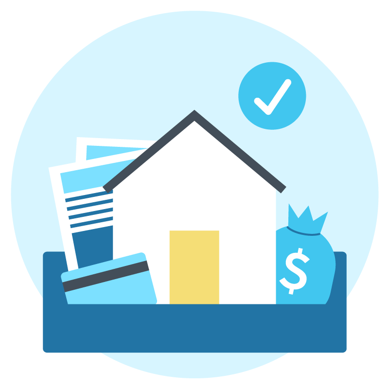 Illustration of estate administration items like a credit card, house, and assets.