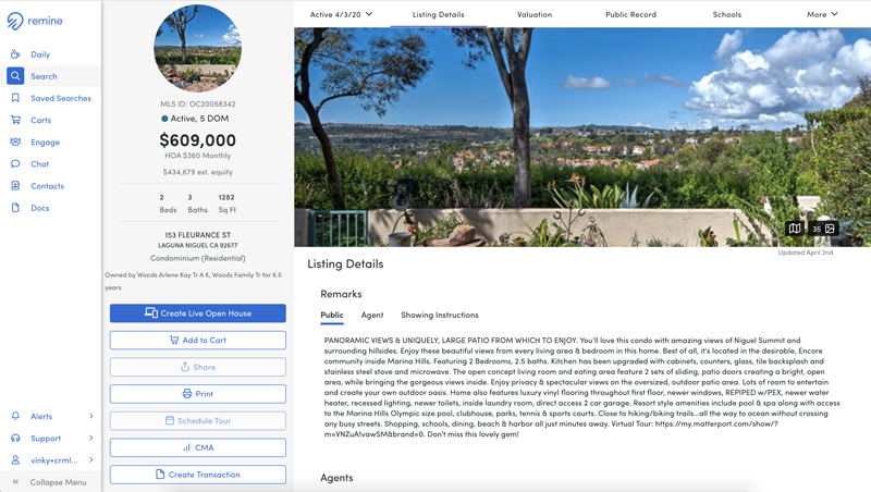Create a Remine Live Open House via the Property Details page