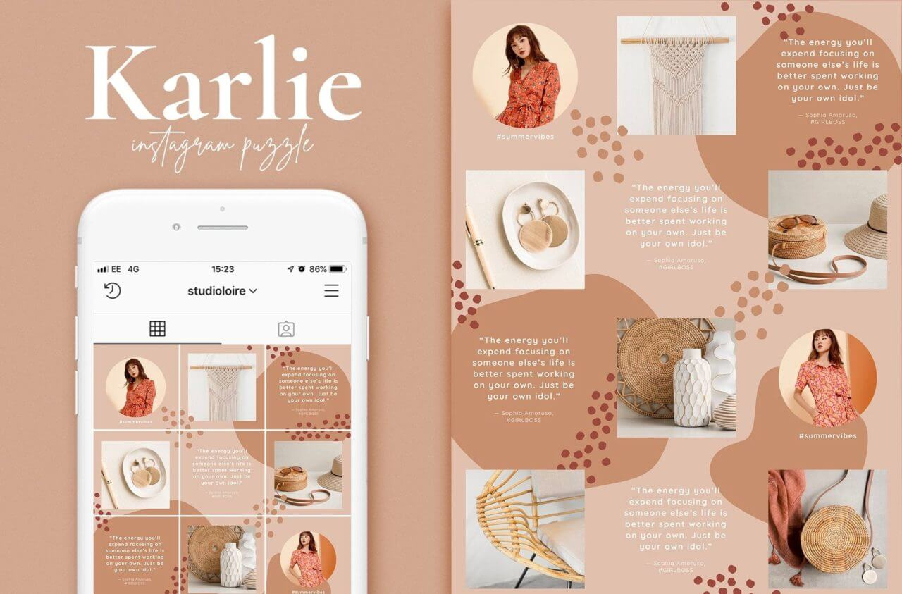 Karlie, an Instagram puzzle mockup template