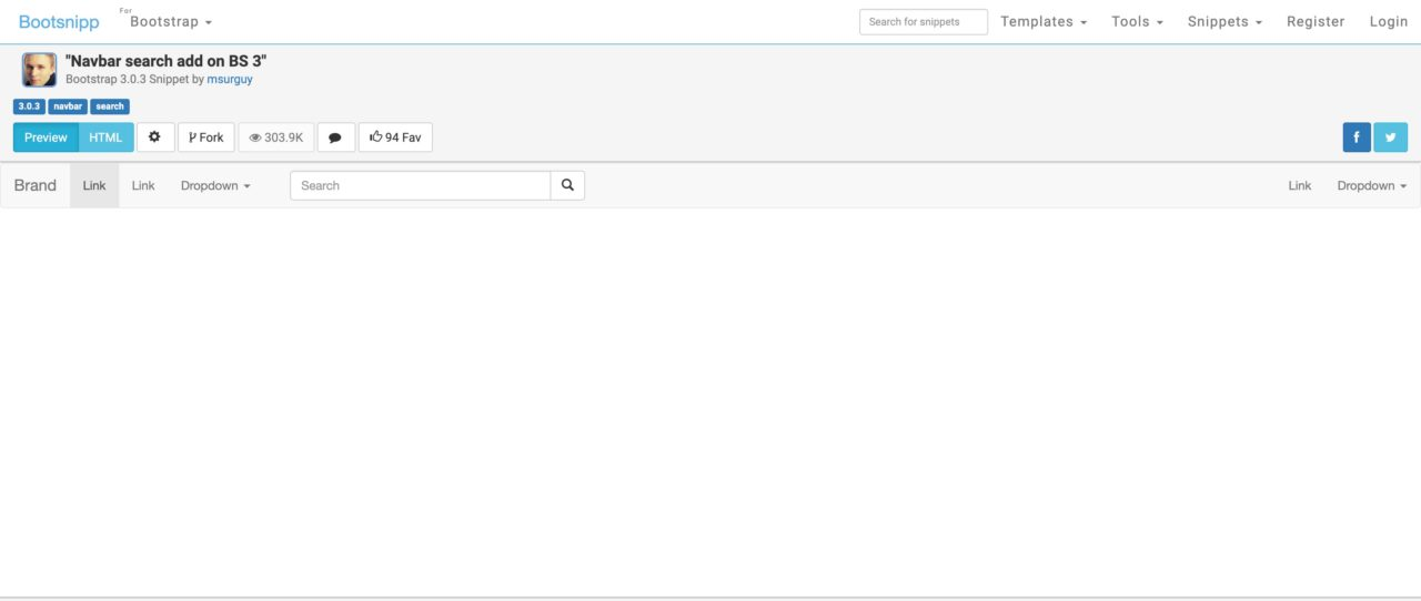 Navbar Search Add On BS 3