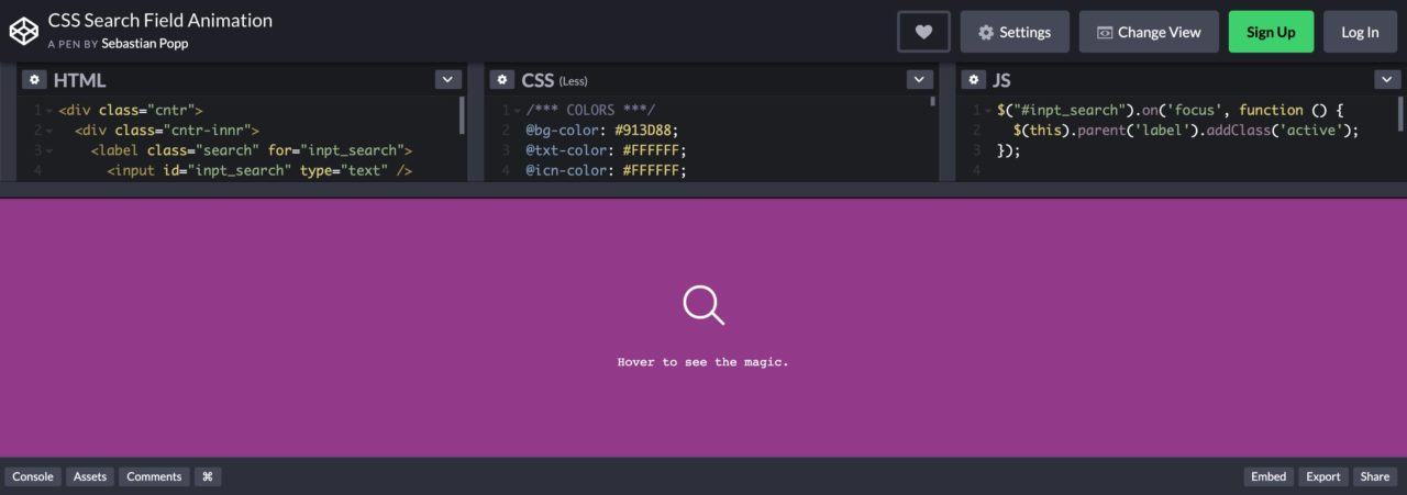CSS Search Field Animation