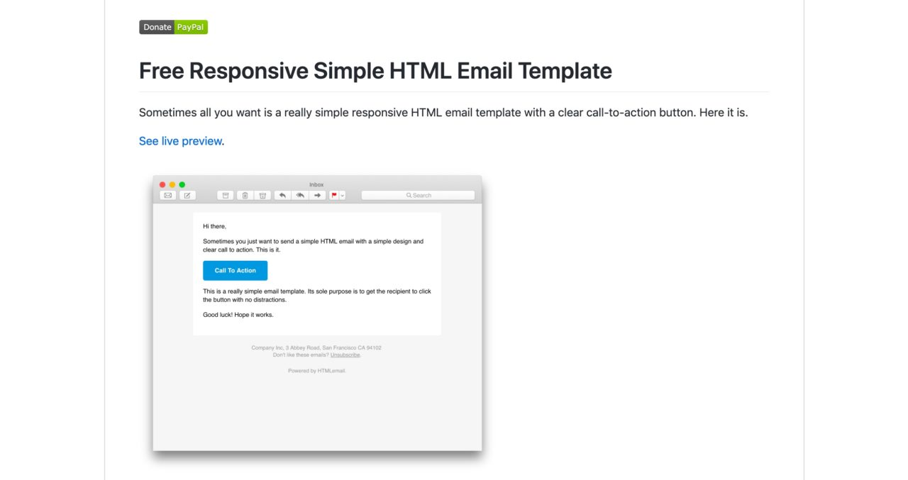 Free Responsive Simple HTML Email Template