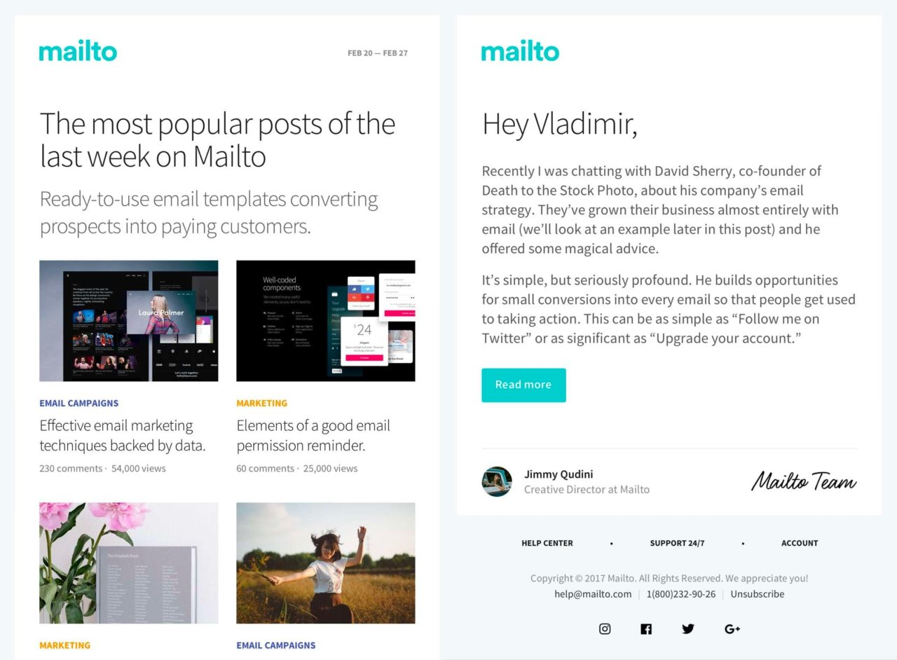 Mailto: 2 Free Responsive Email Templates