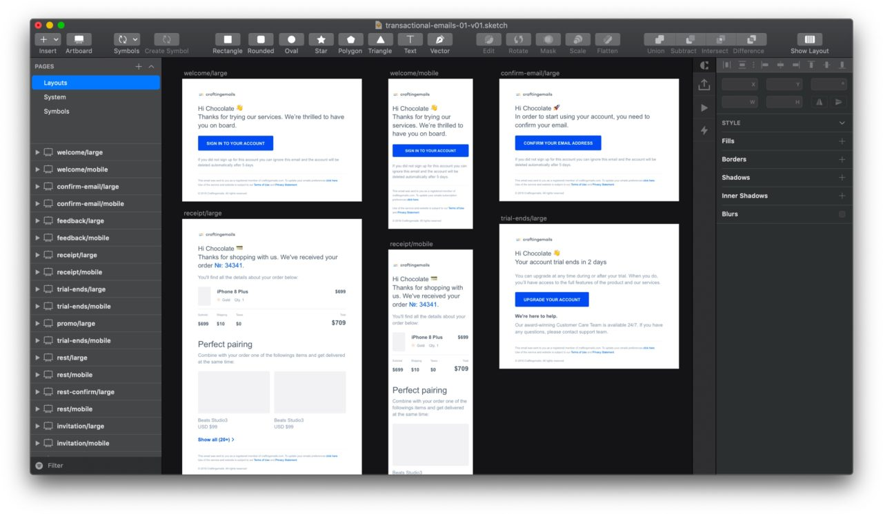Transactional Email Template Sketch Resource