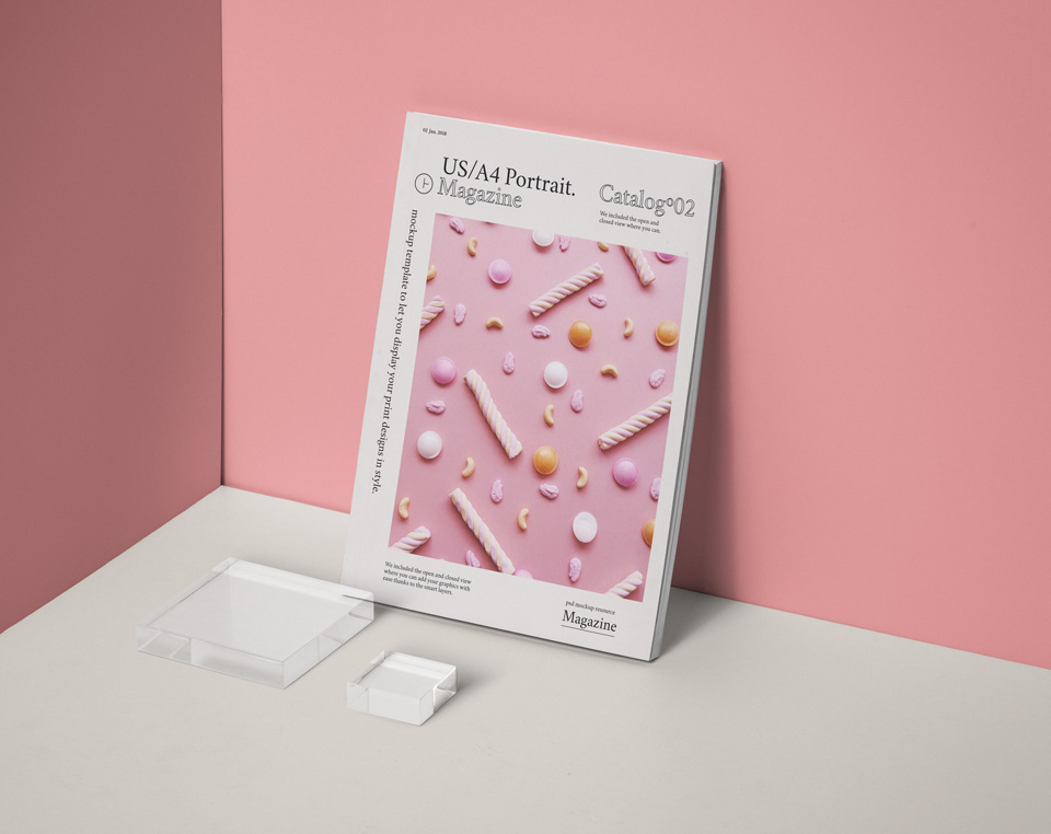 PSD Magazine Mockup US A4 Vol2