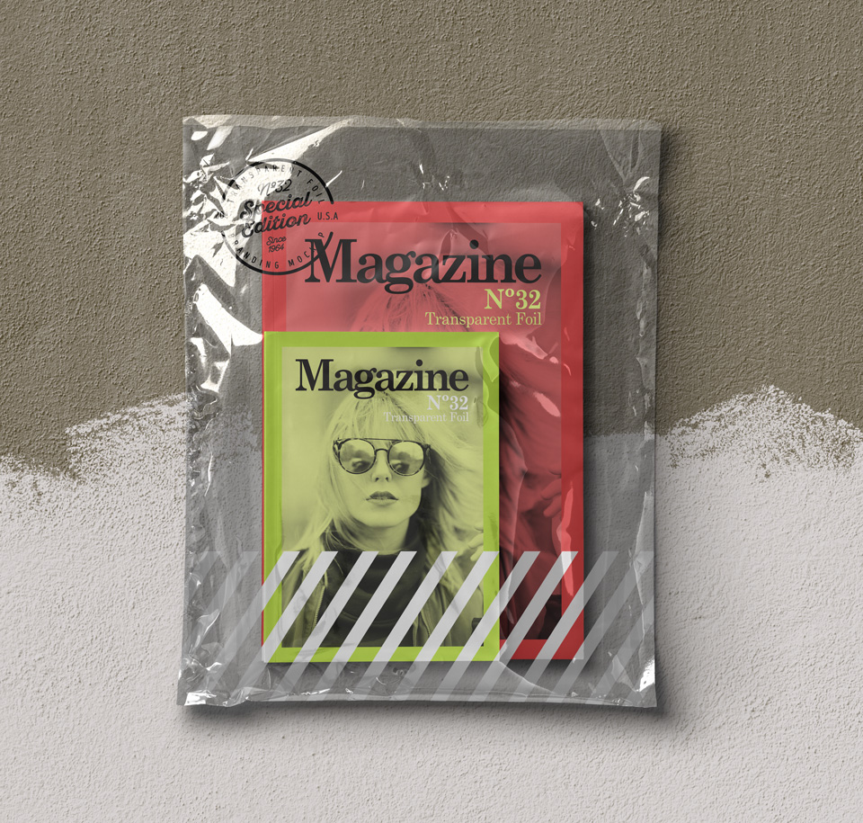 Magazine Transparent Foil Mockup