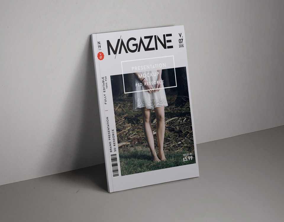 PSD Magazine Mockup Cover Vol7