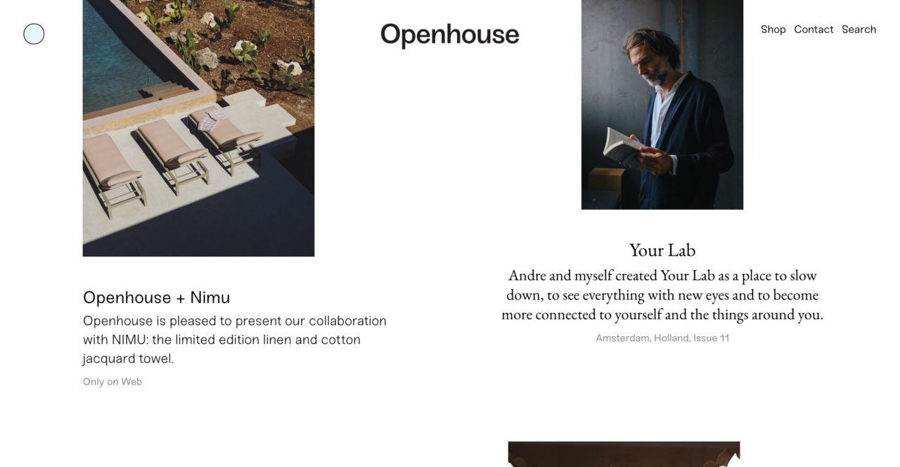 Openhouse Magazine web design