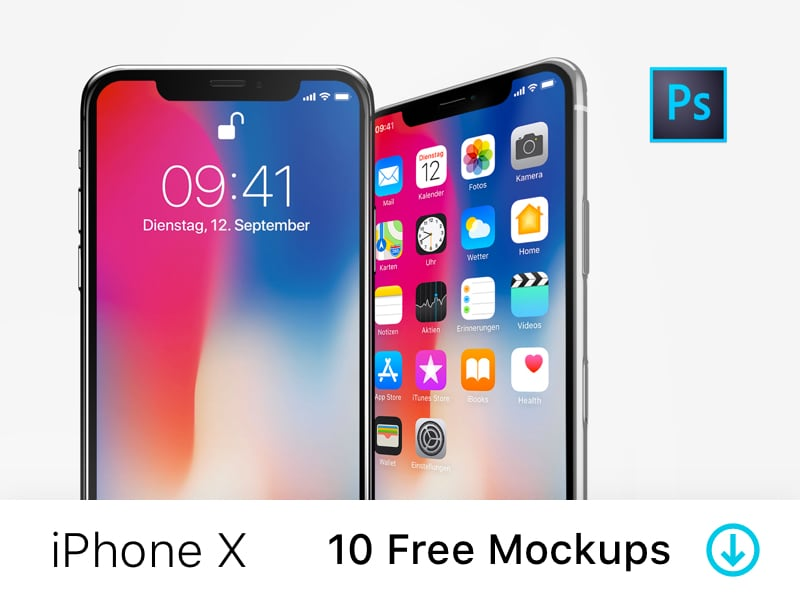 iPhone X -10 Free PSD Mockups