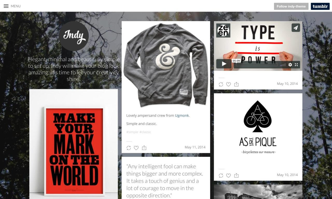 indy tumblr theme