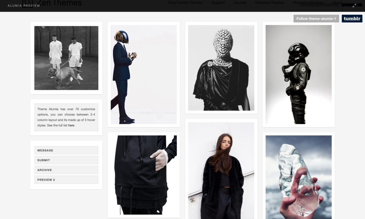 alumia tumblr theme