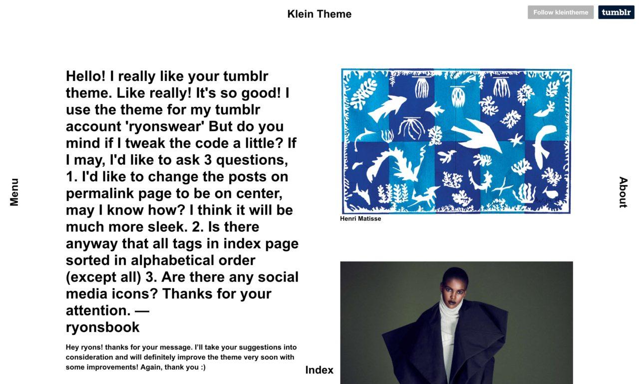 klein tumblr theme