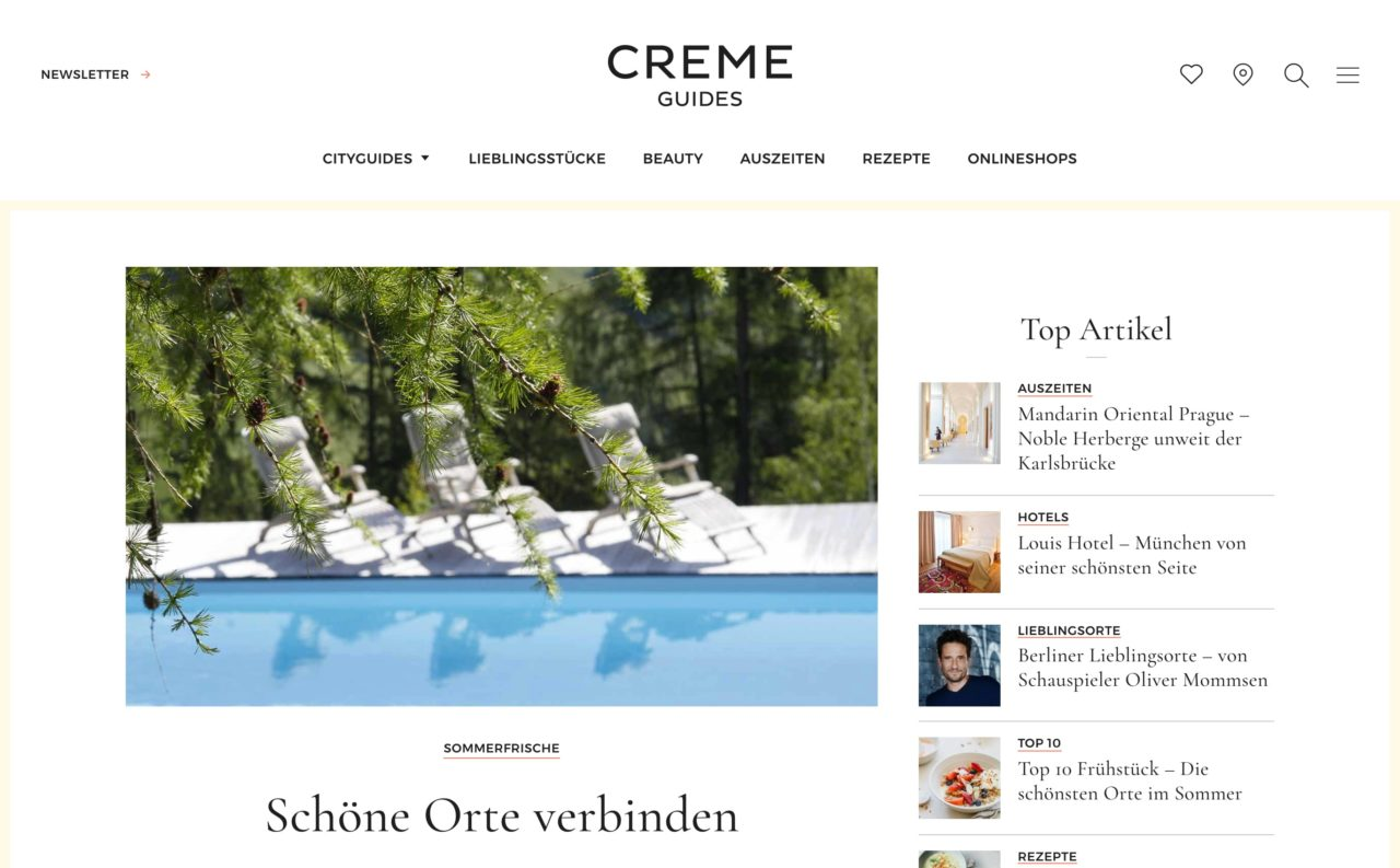 creme guides blog design