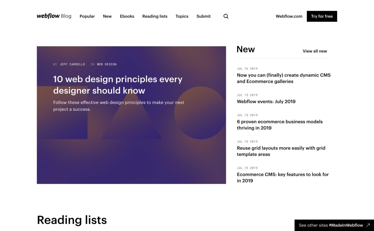webflow blog design