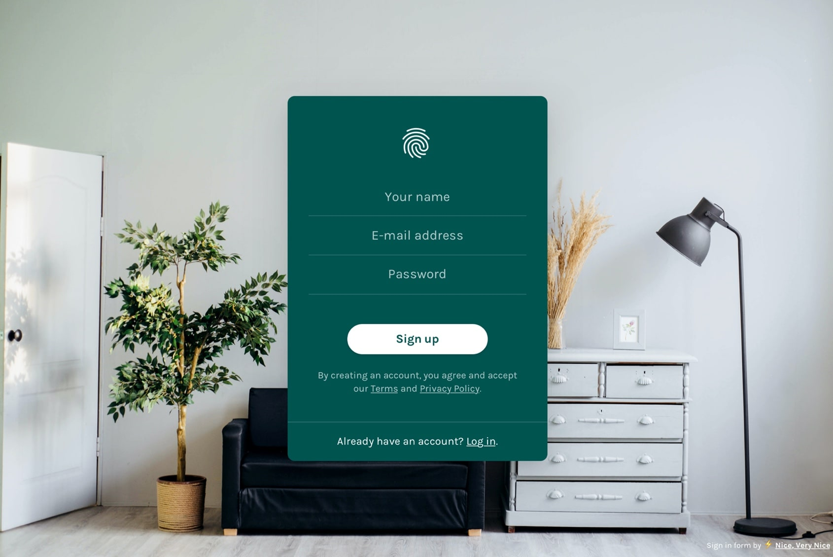 Login Page Form Template