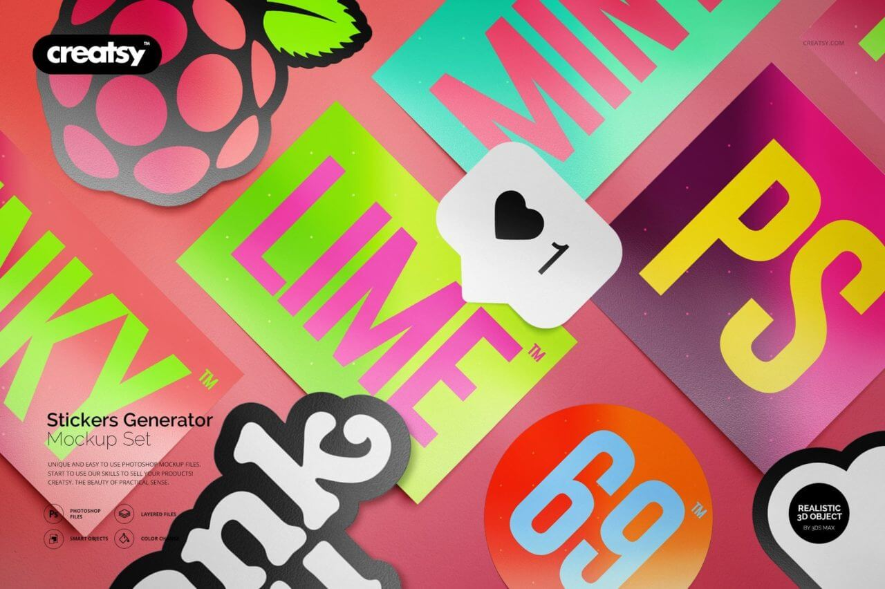 Stickers generator mockup set