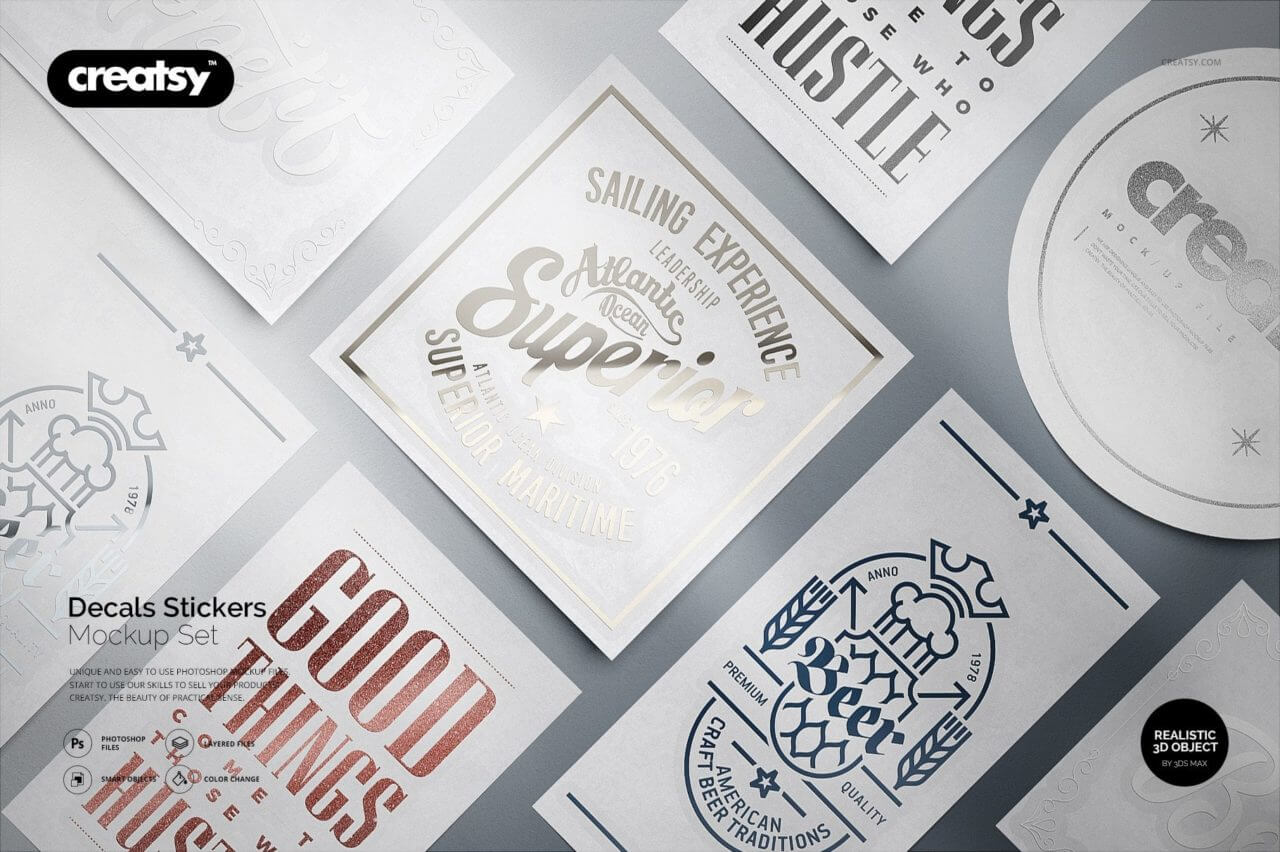Decals stickers mockup set