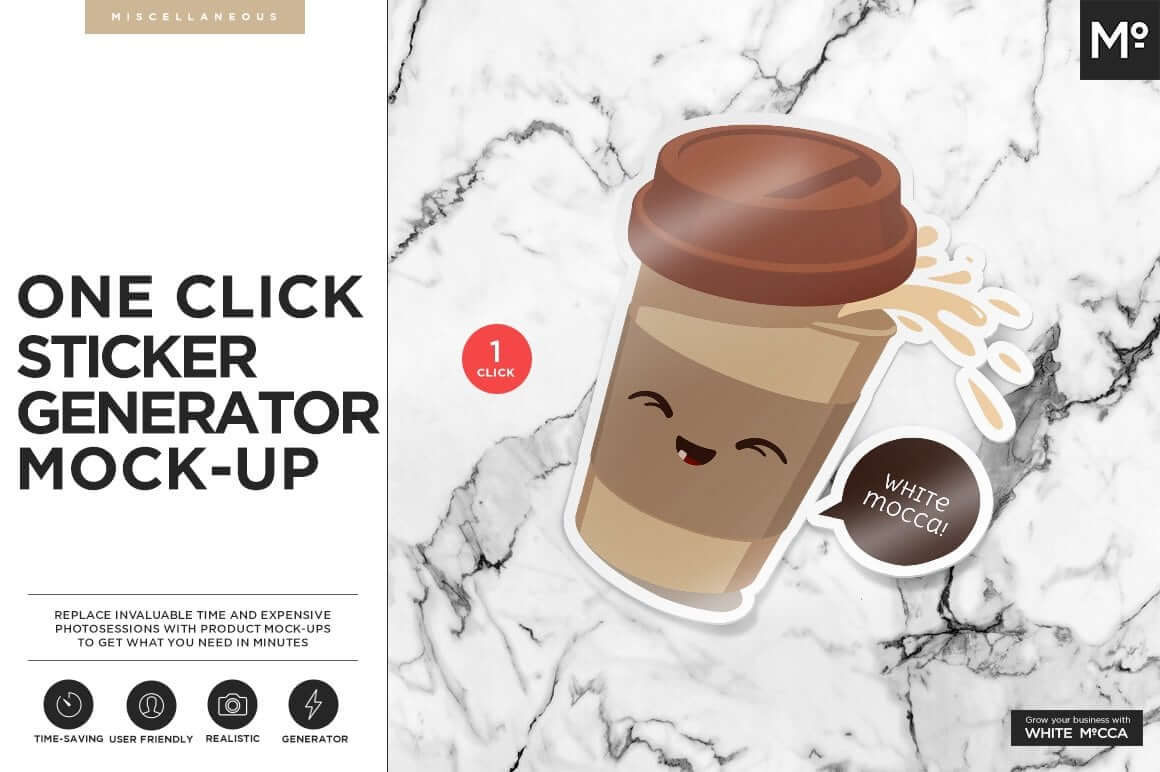 One click sticker generator mockup