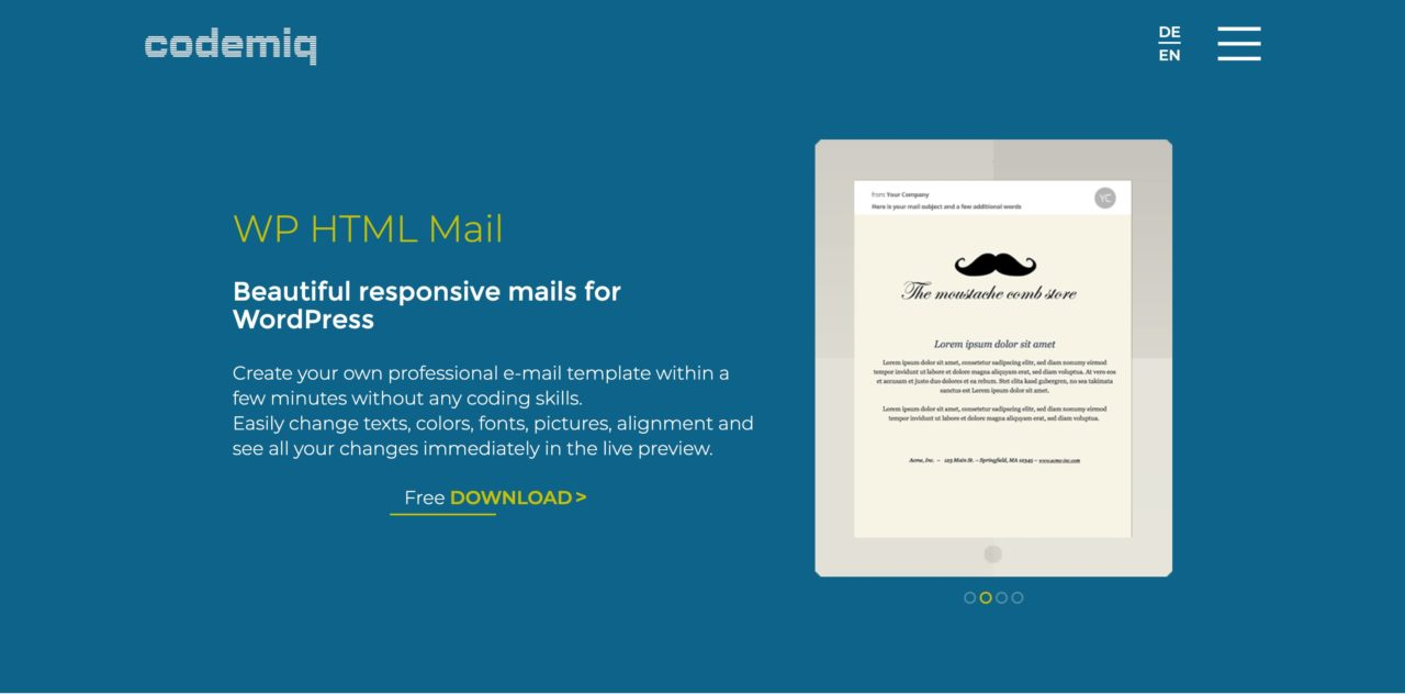 wp html mail email template