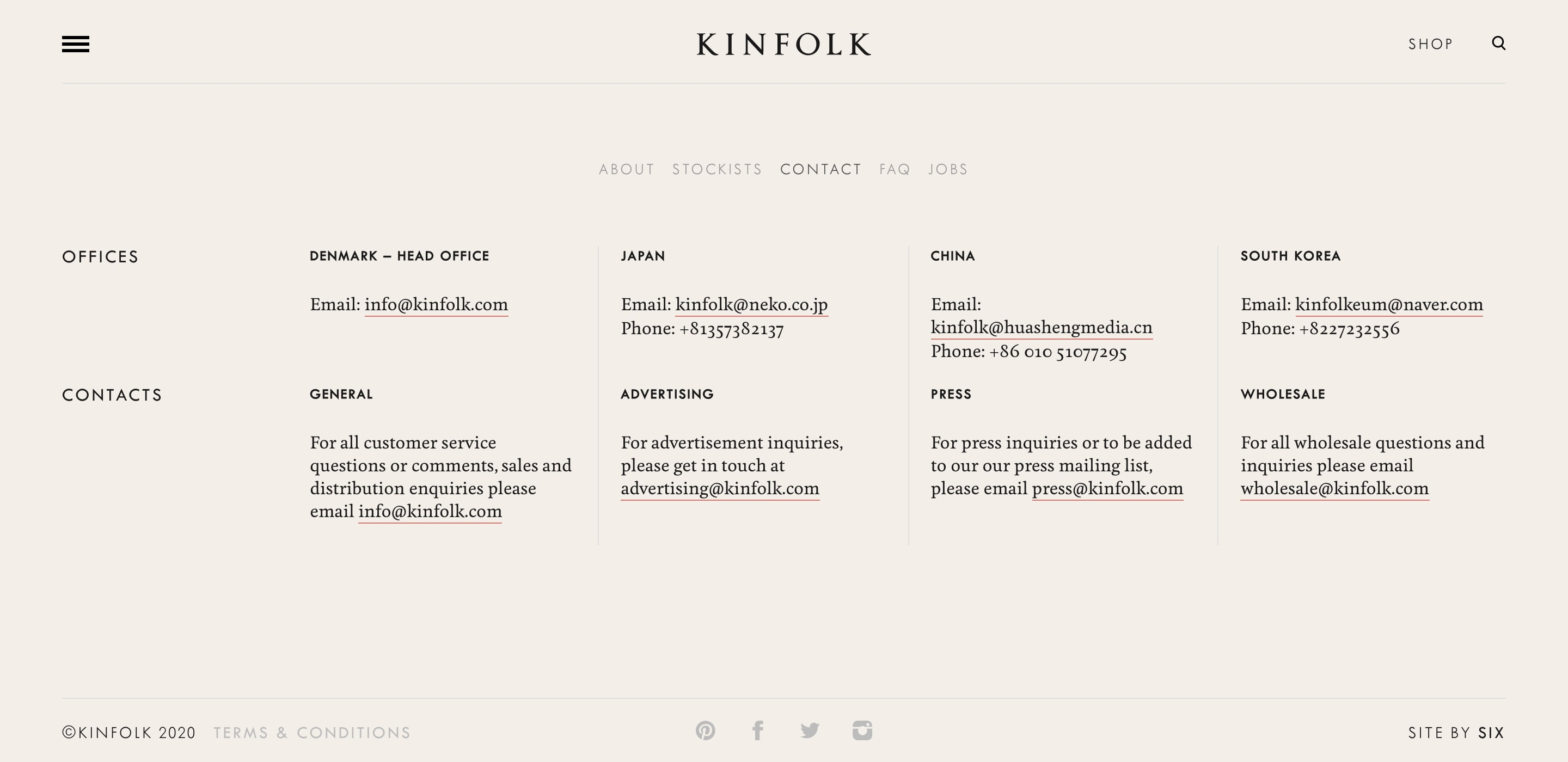 kinfolk contact page design