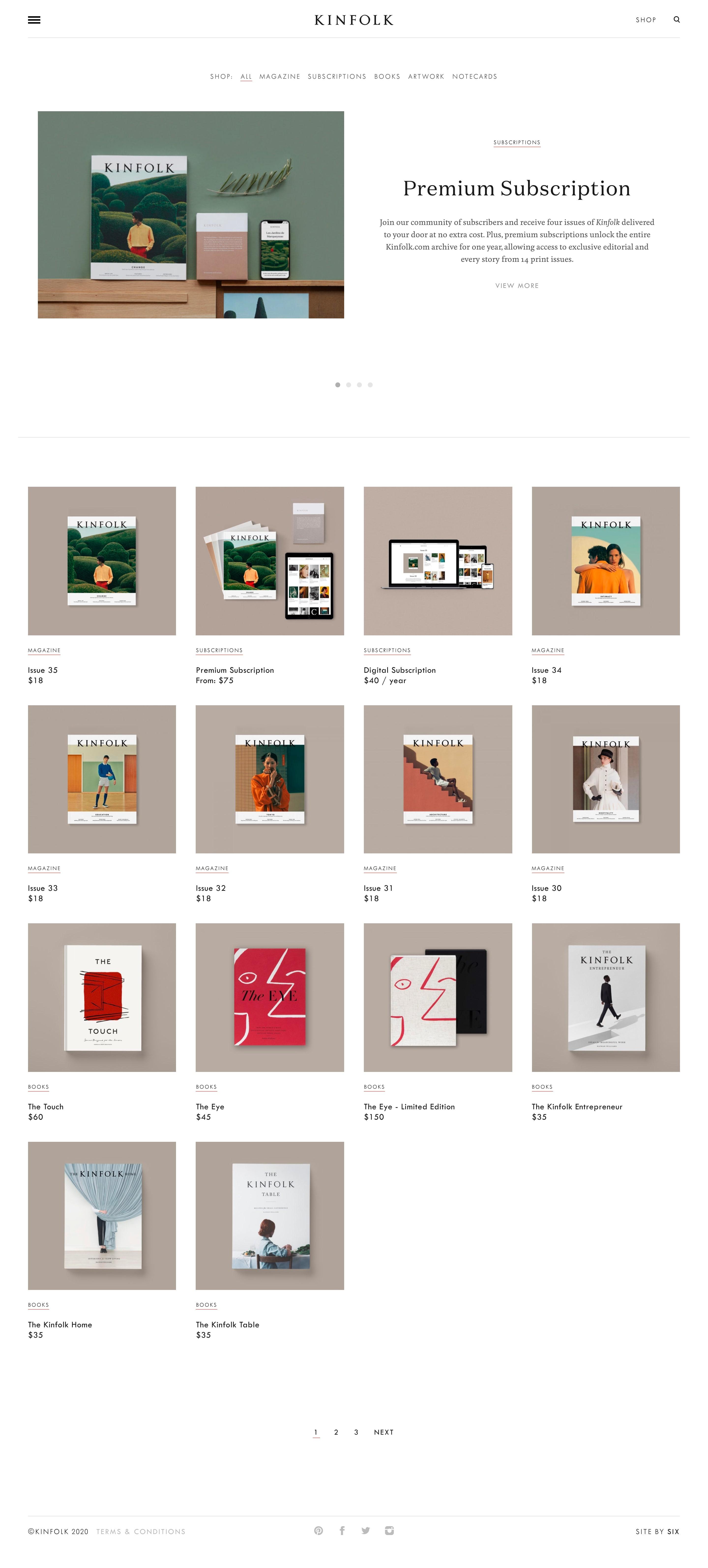 kinfolk shop page