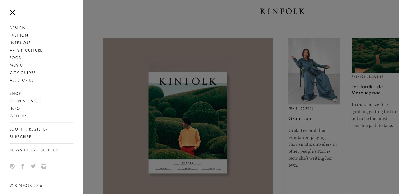 kinfolk side menu design