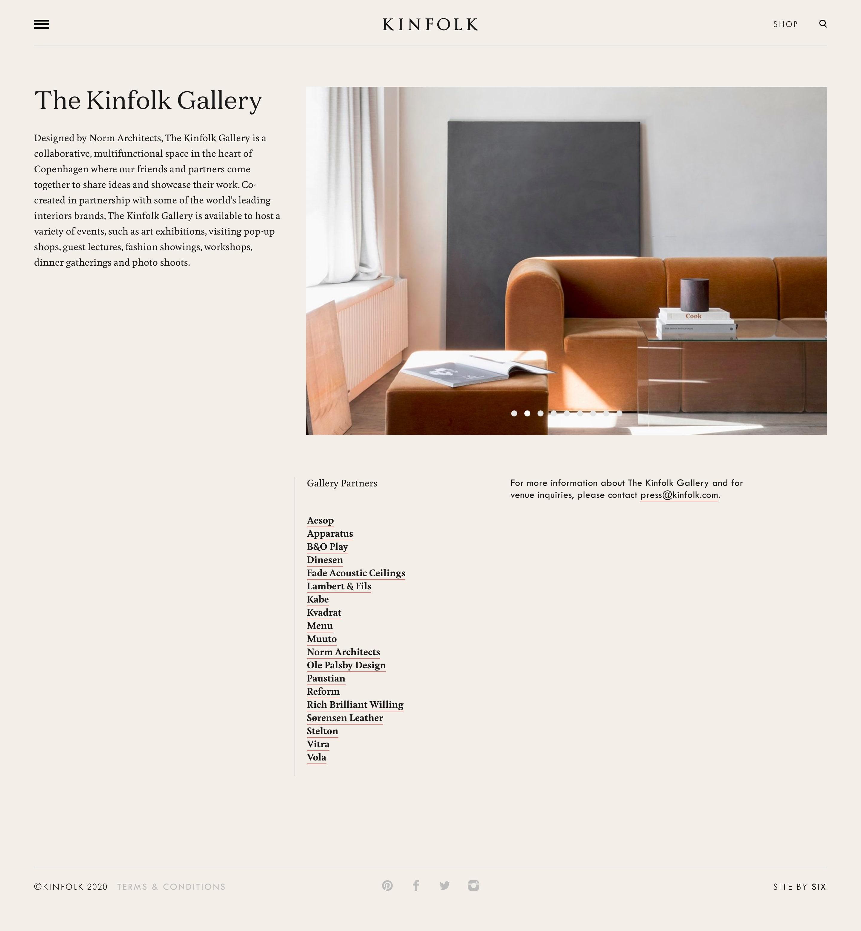kinfolk gallery page design