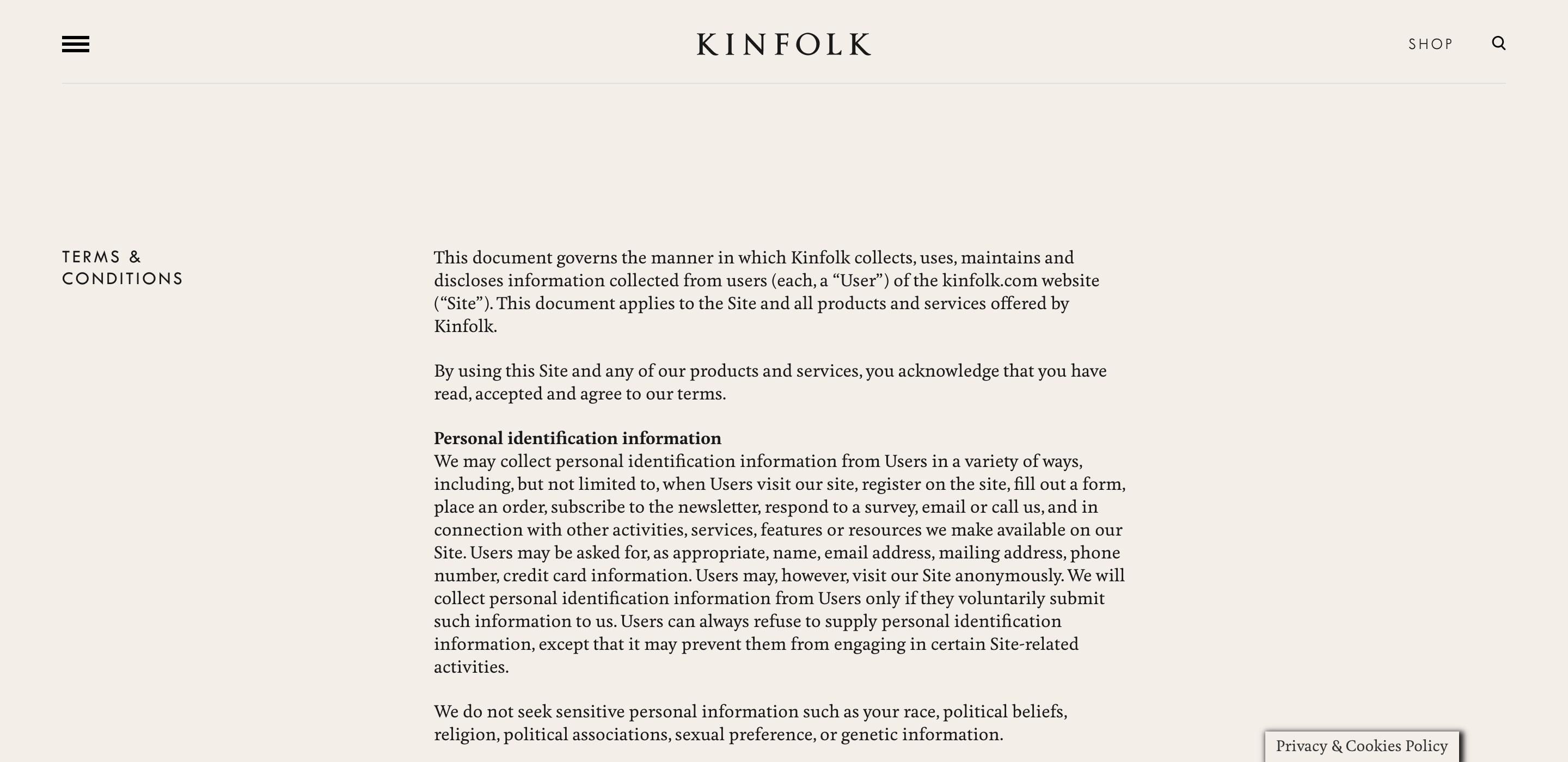 kinfolk terms and conditions page