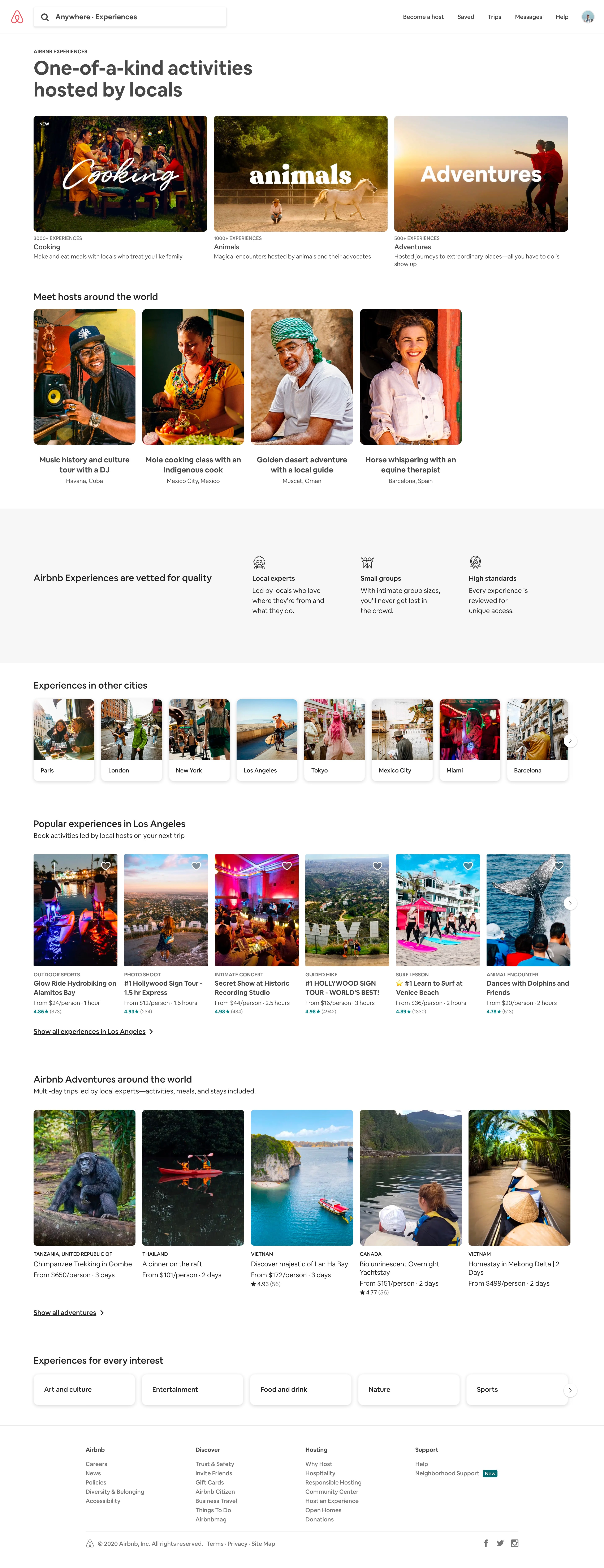airbnb experiences page design