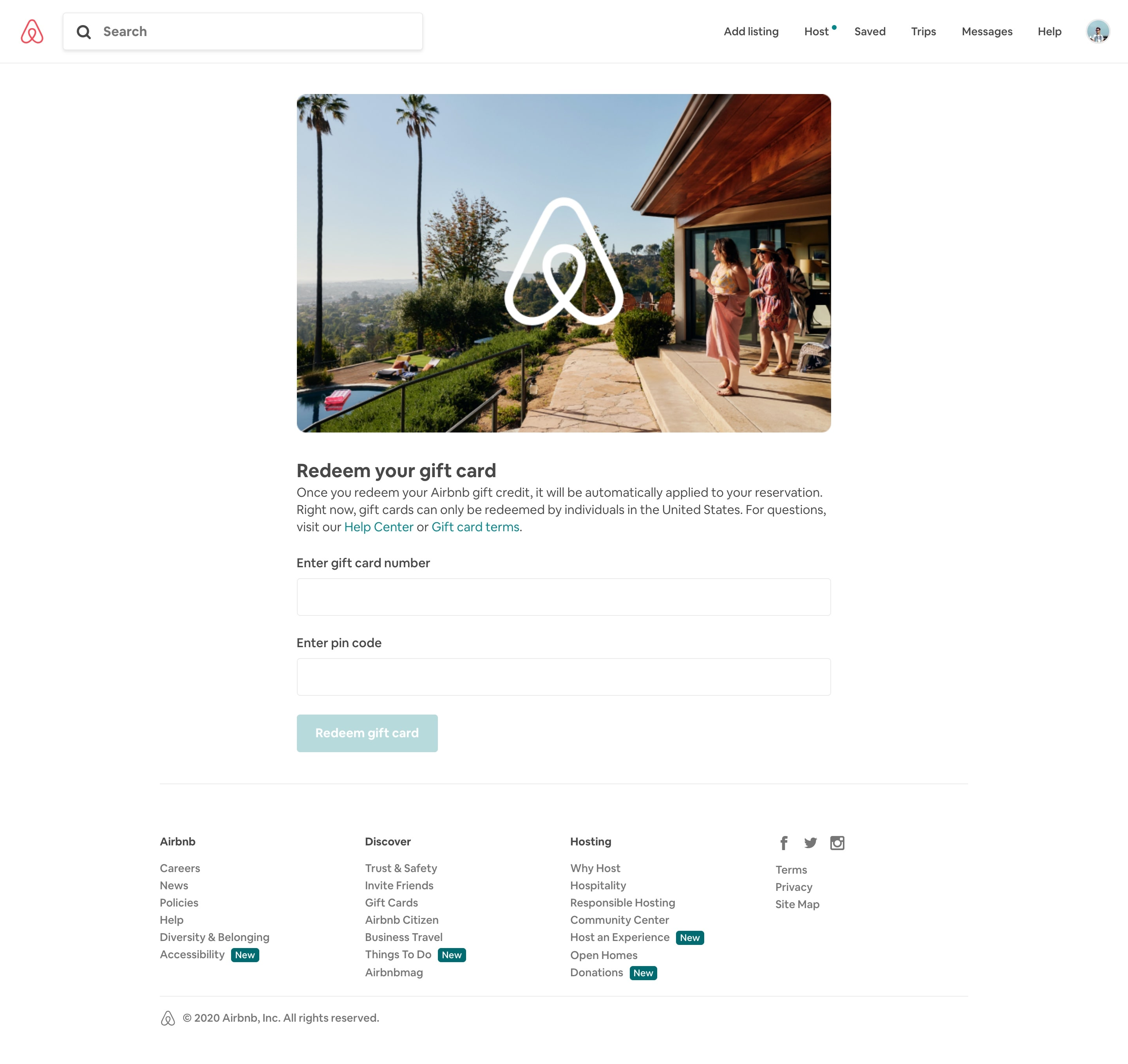 airbnb gift cards page design