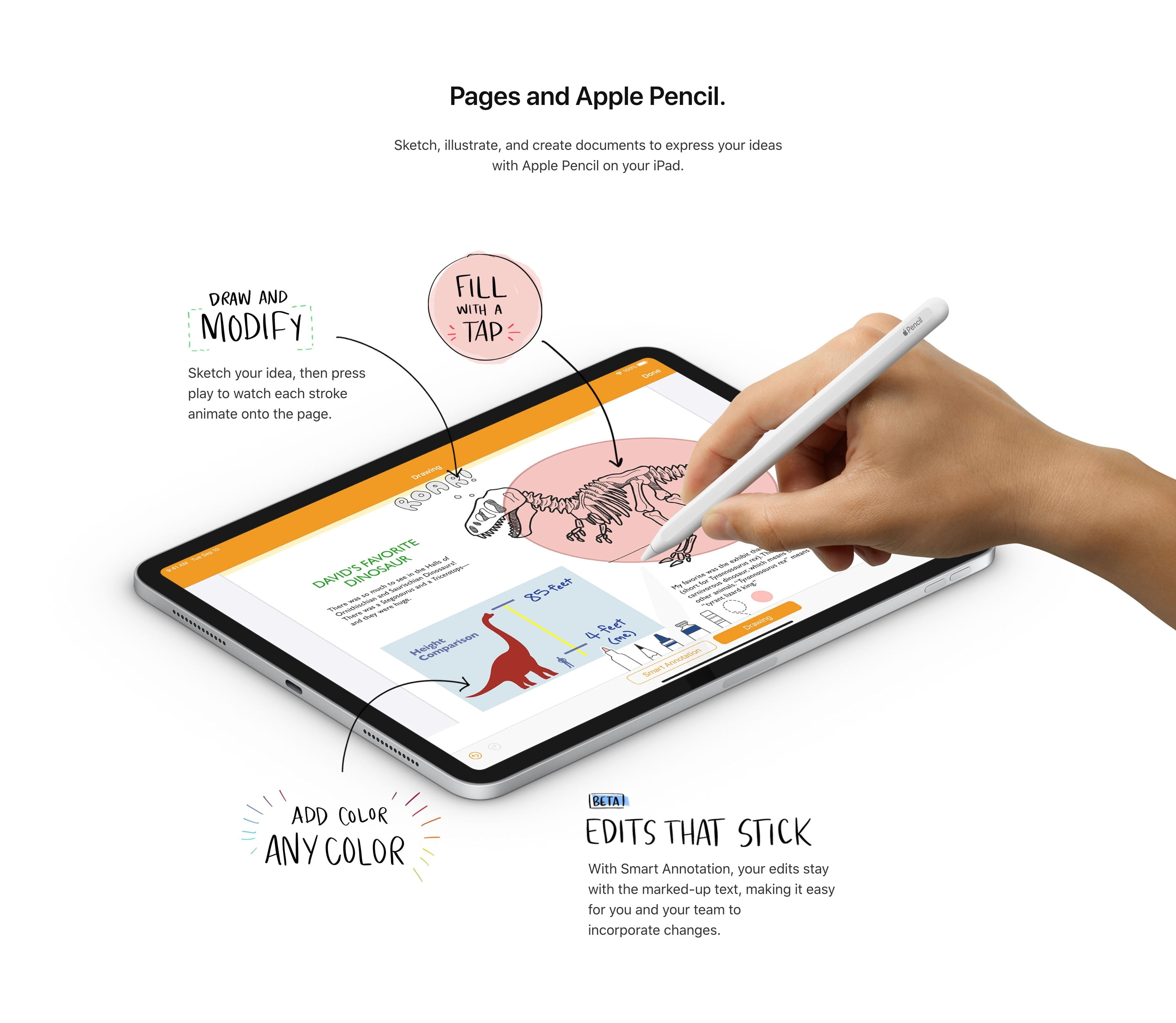 Feature Block with iPad Mockup and Handwritten Labels