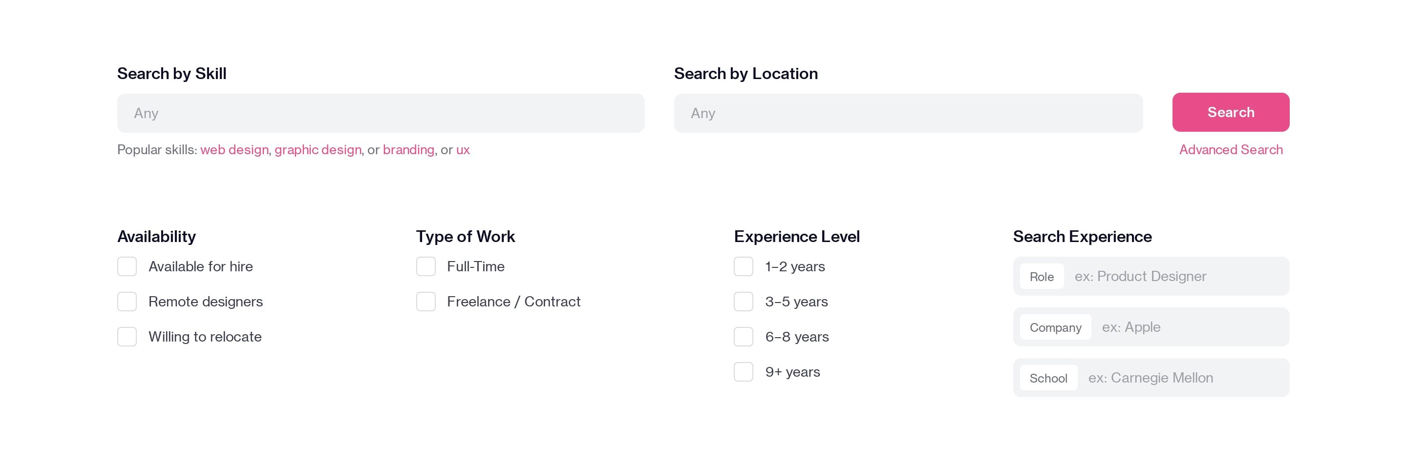 Search Designers with Filters