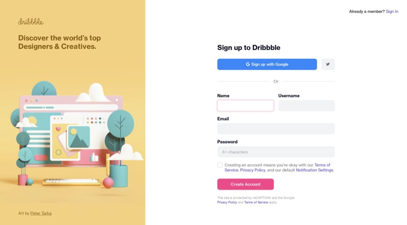 Sign Up Form with Google Button