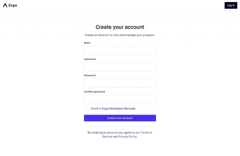 Create Account Page with Sign Up Form
