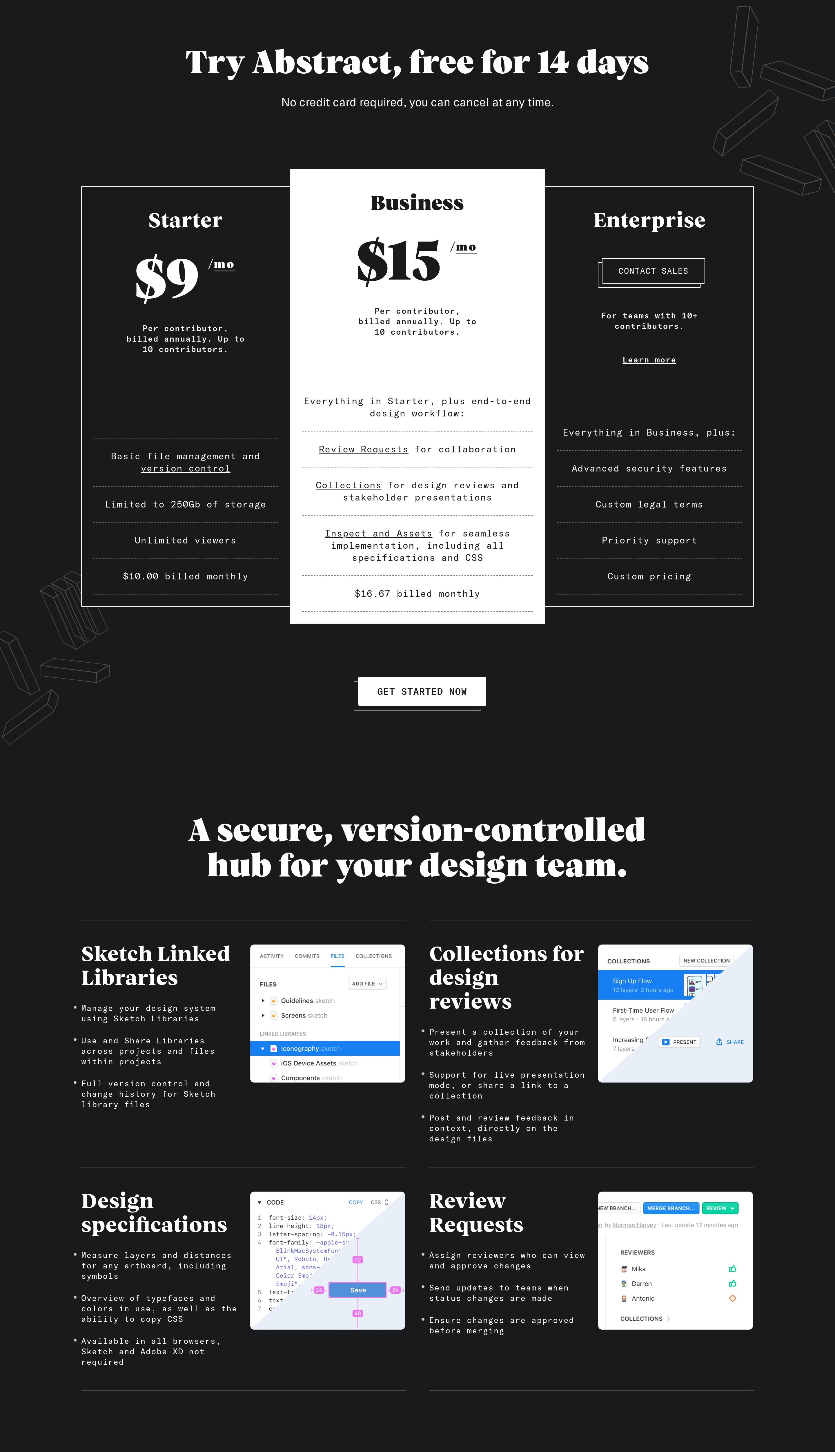 Pricing Page with Product Features