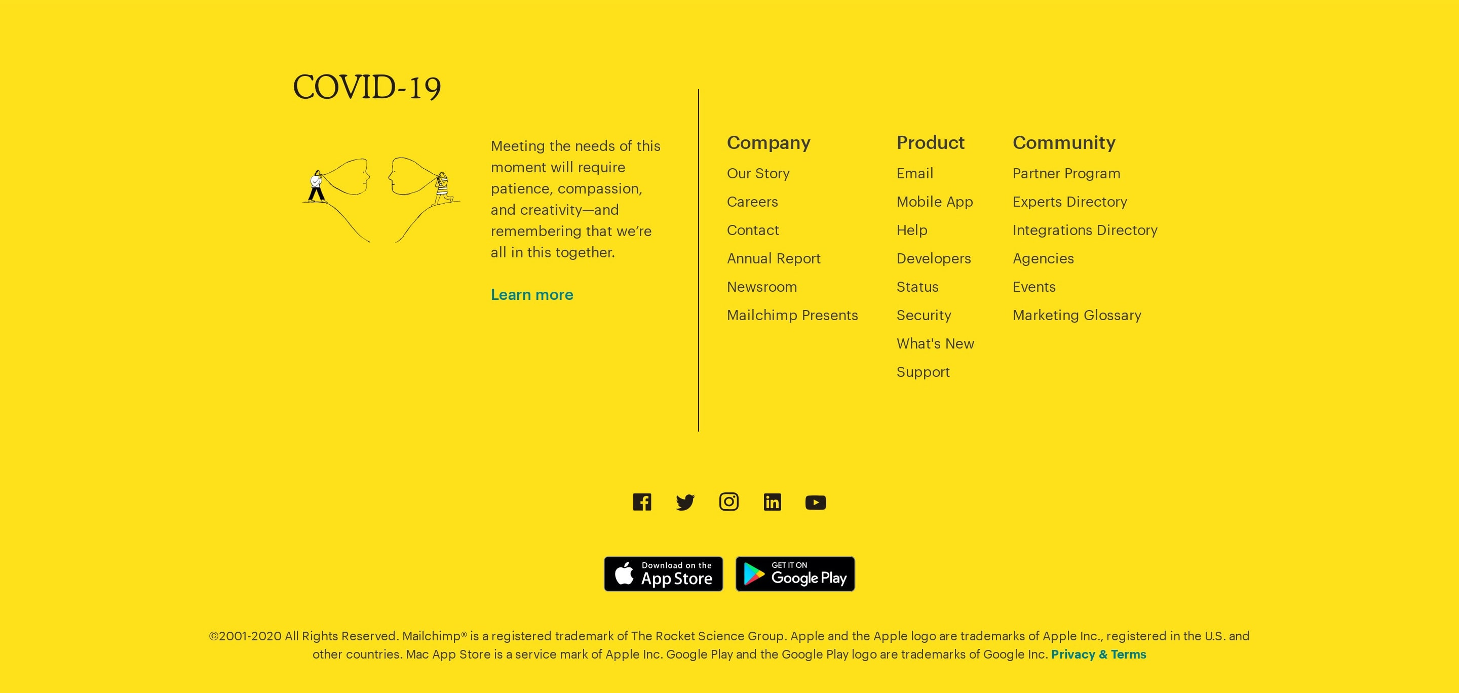 Yellow Footer with Download App Buttons