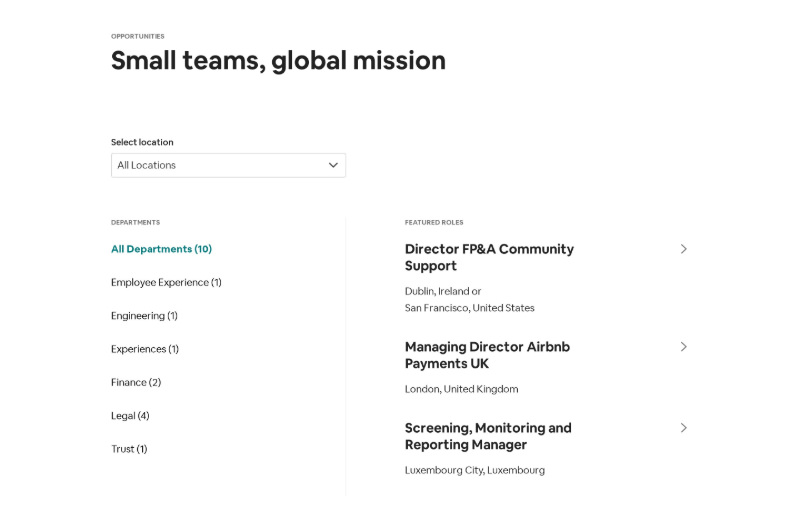 Team Careers Opening Jobs with Location Dropdown