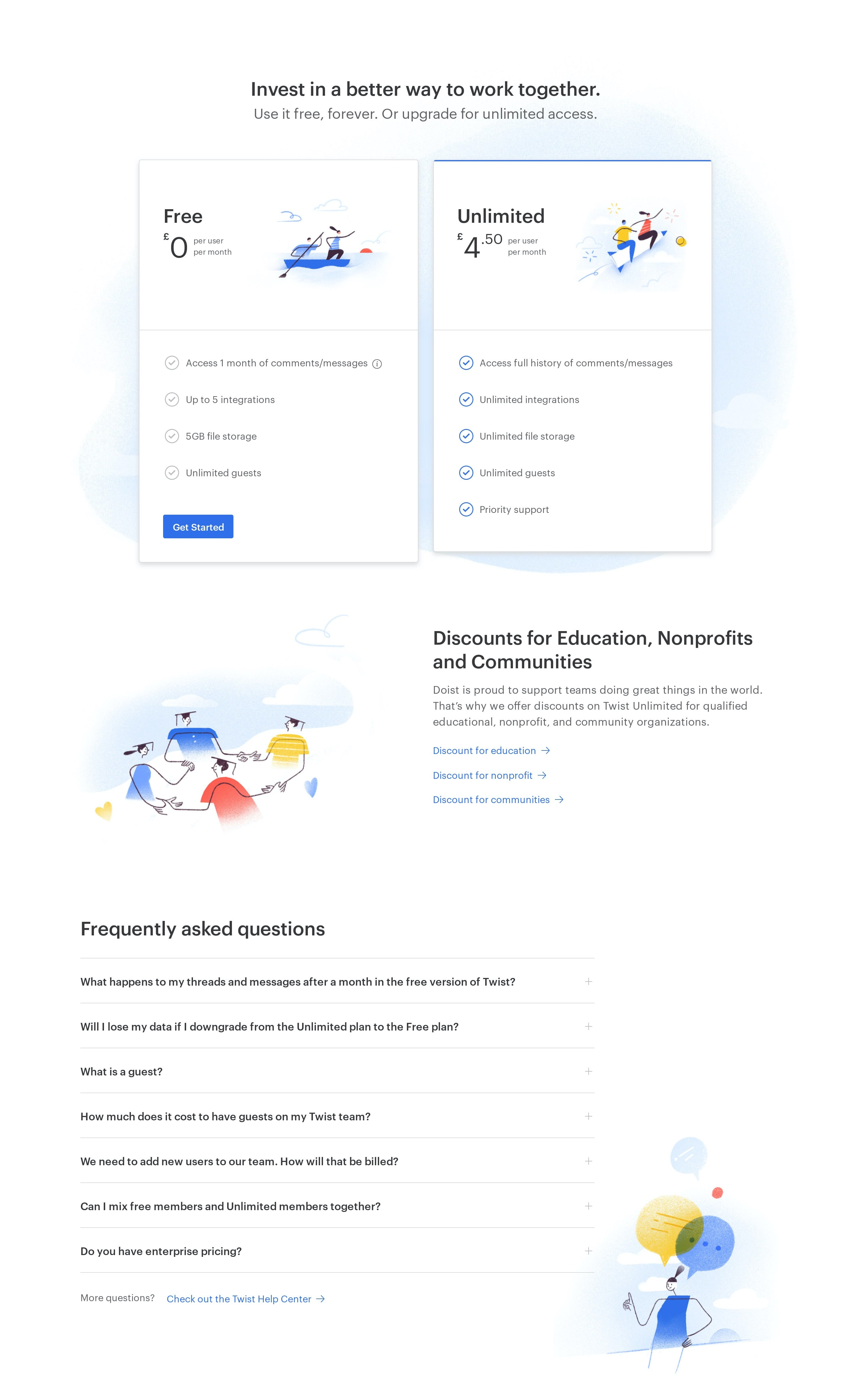 Pricing Page Layout with FAQ