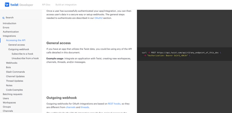 Developer Documentation Page with Code Embeds