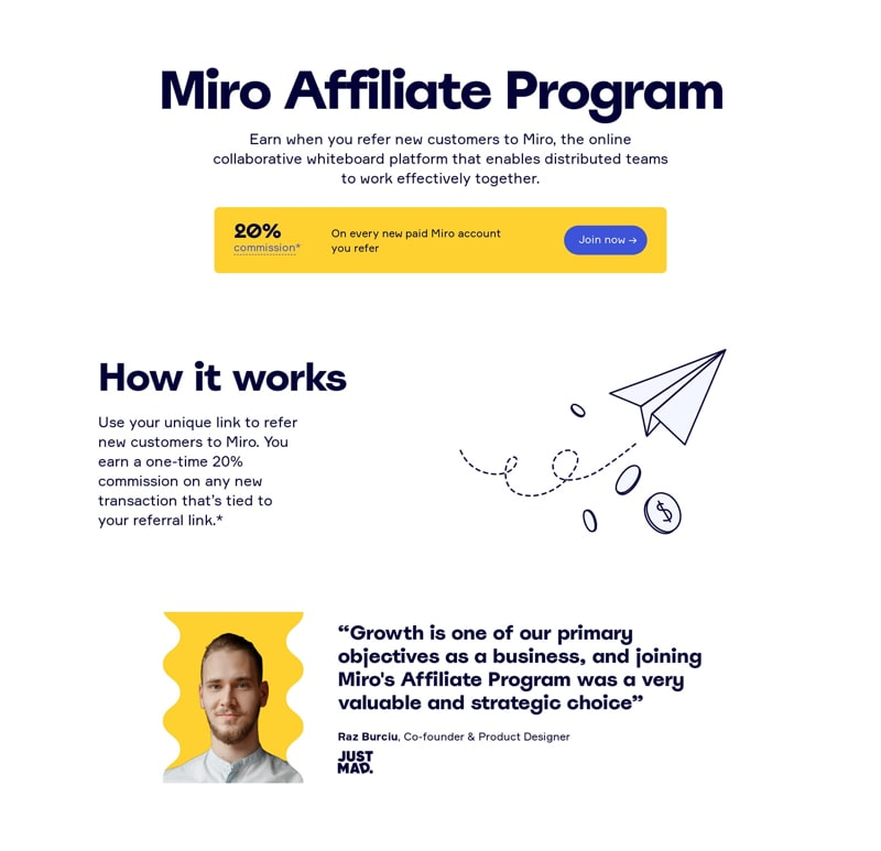 Affiliate Program Page Design Layout