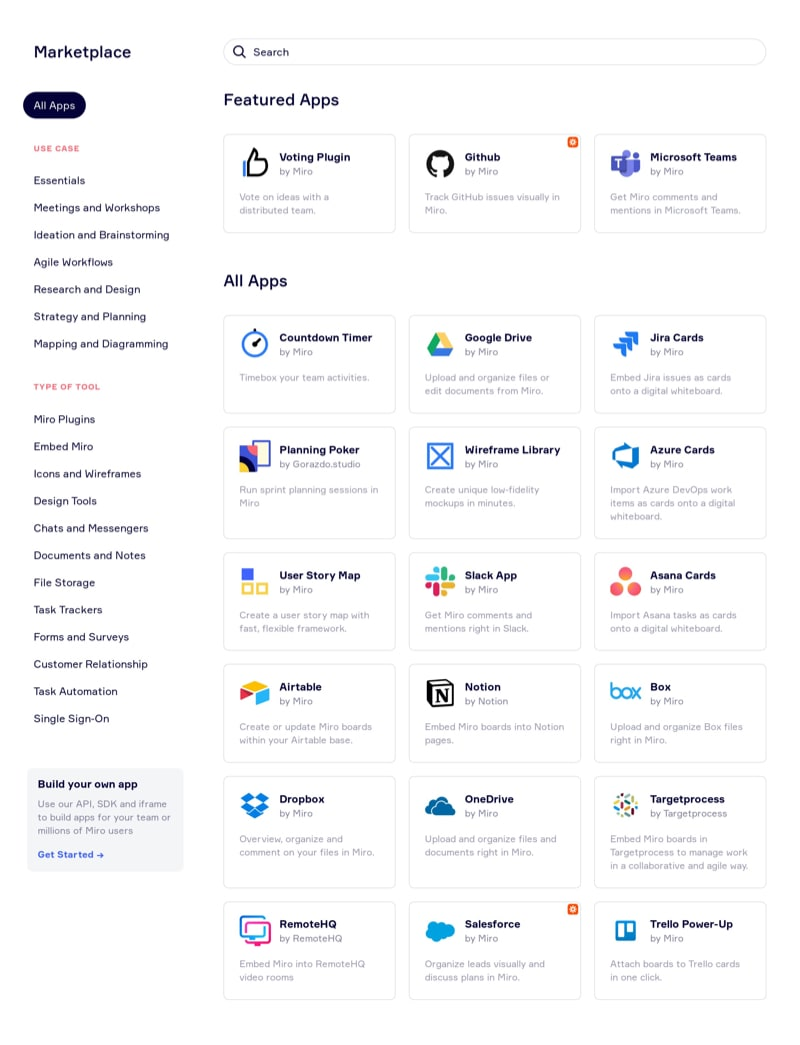 Apps List Page with Categories Navigation