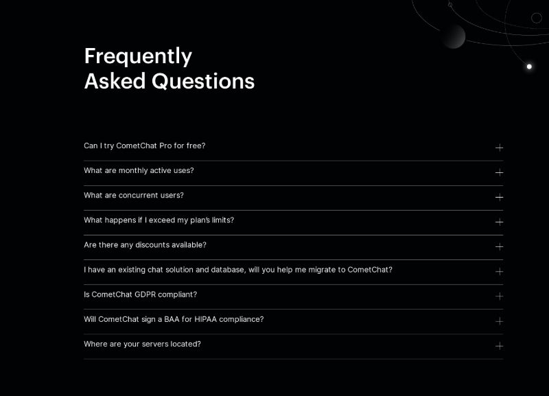 FAQ on Black Background with Expandable List of Questions