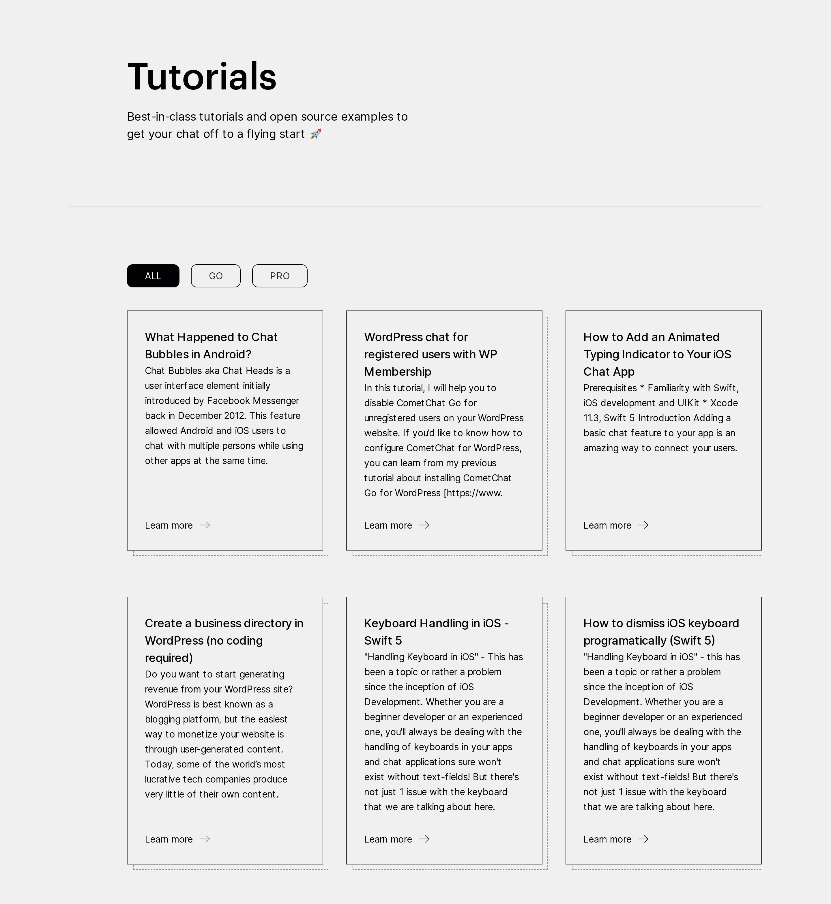 Tutorials List Grid with Filters