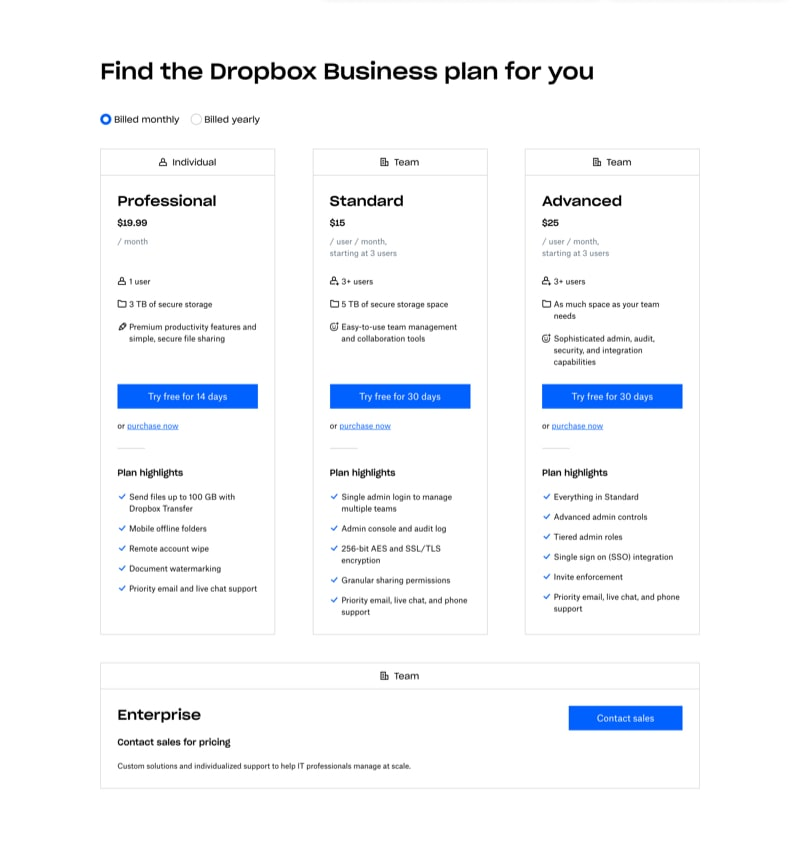 Pricing Plans with Features Highlights