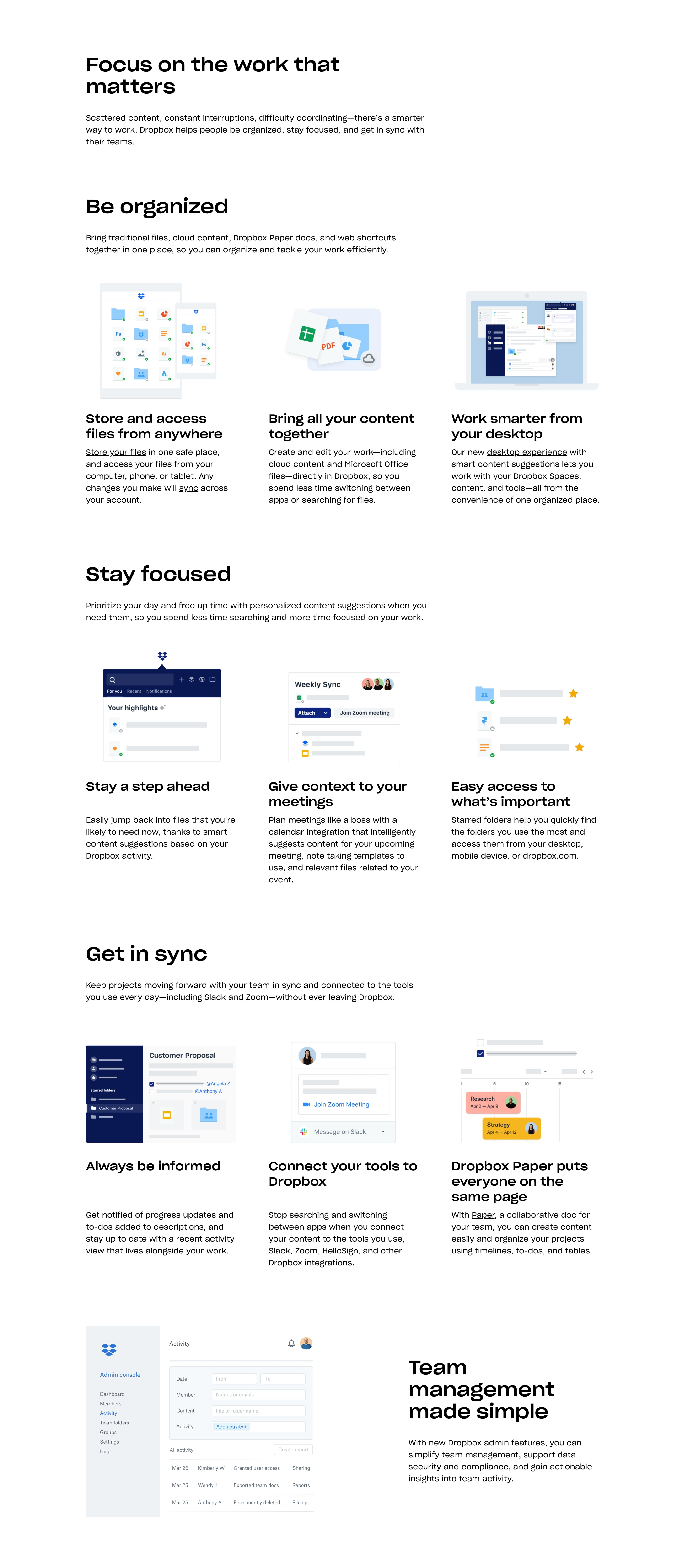 Features Page Layout Design