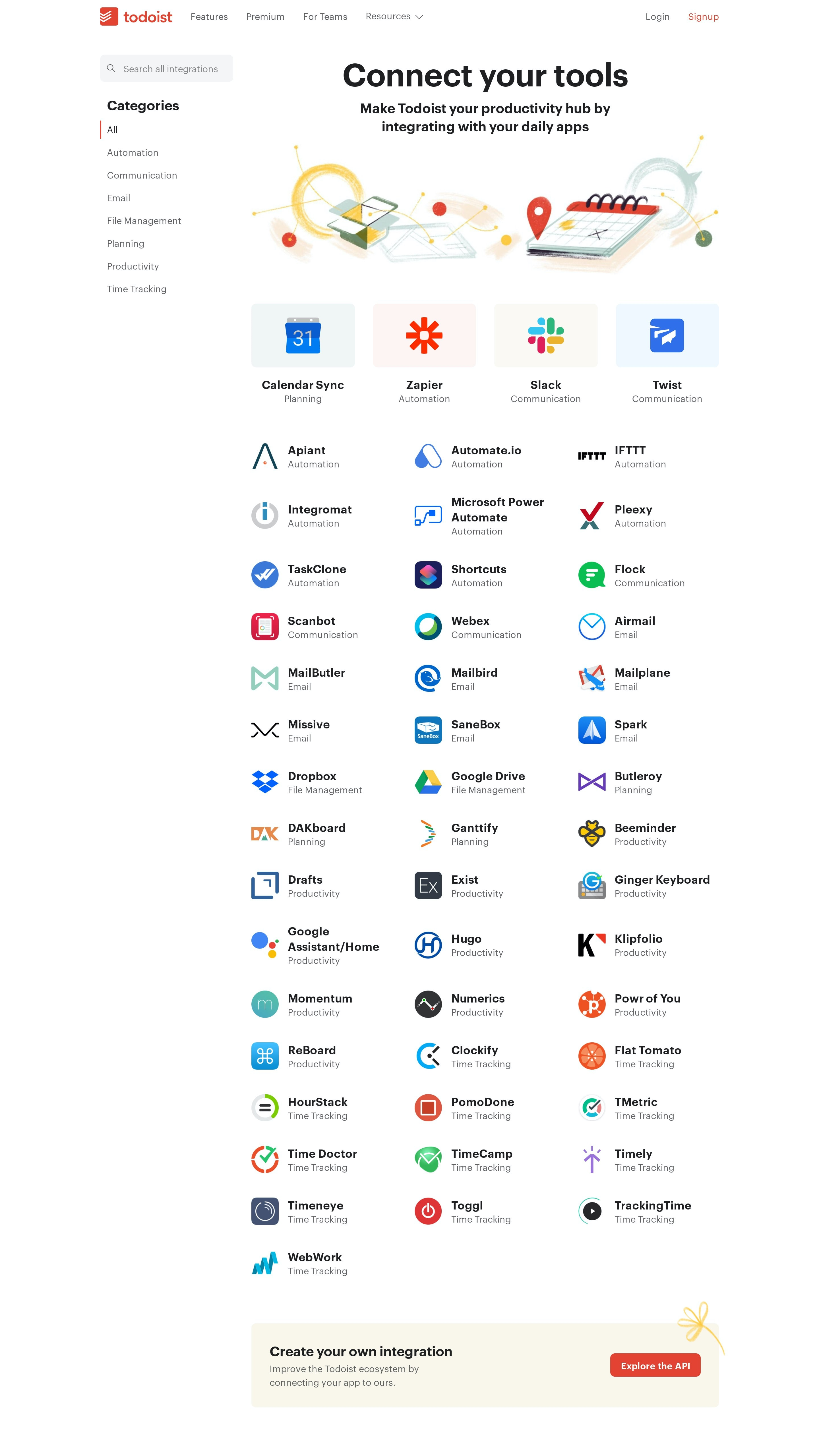 Integrations List with Categories Navigation & Search Bar