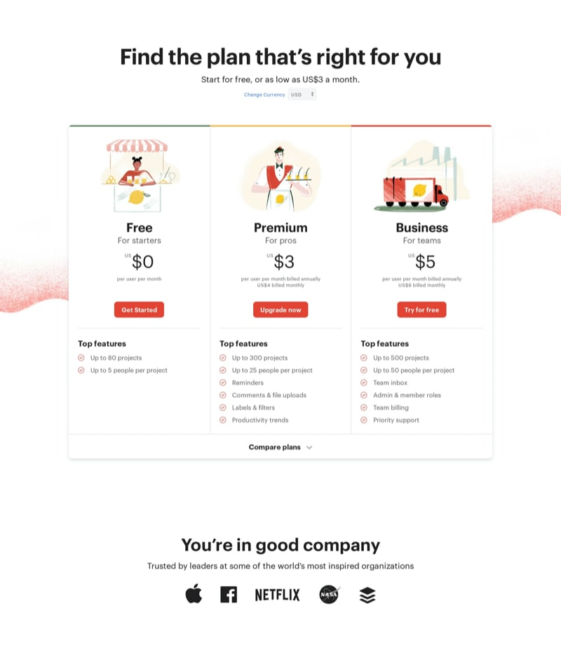 Beautiful Pricing with Free Plan & Illustration