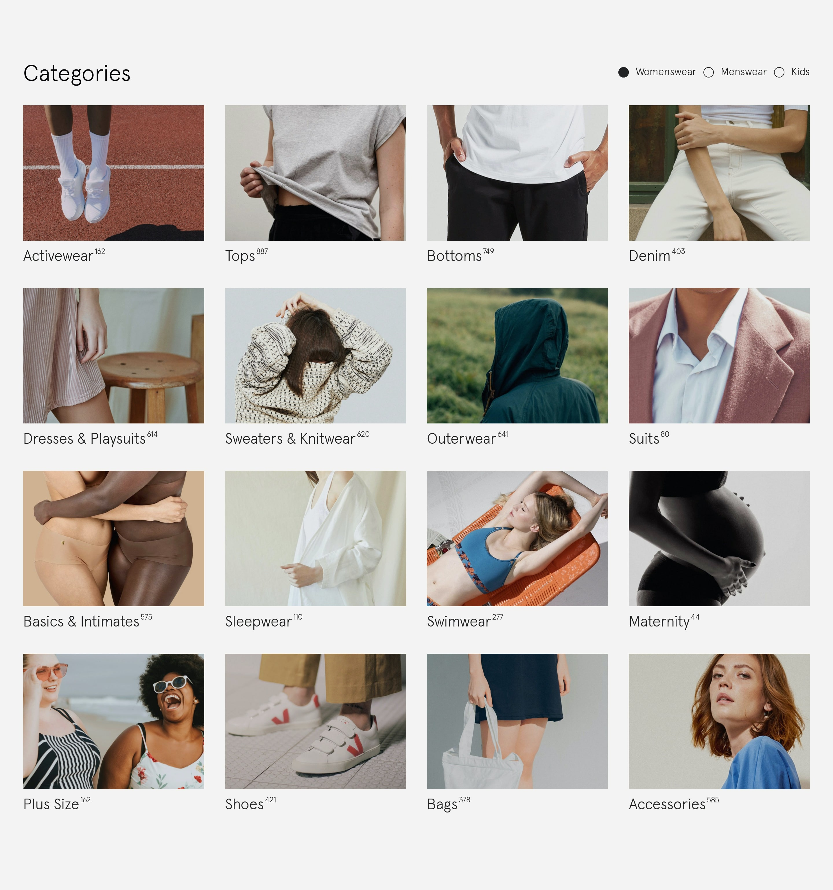 E-commerce Categories Navigation Grid with Images